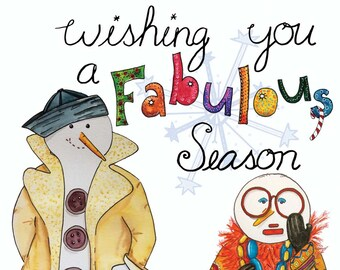 Christmas Card- Holiday Card -Snowmen Card -Wishing You a Fabulous Season  -GC406
