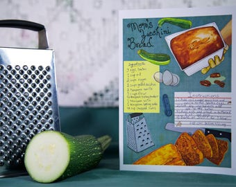 Recipe Card Zucchini Bread Recipe Card, Housewarming Card Illustrated Recipe Card Homemade Bread Card, What to Do with Zucchini Card -GC402