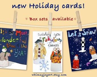 Gift Box Set - Christmas Cards - Holiday Cards - Snowman Cards - 12 Cards - GC412