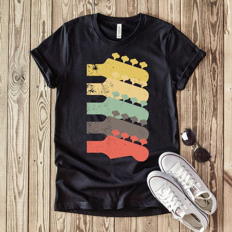 Vintage Guitar Headstock Short Sleeve Unisex T-Shirt- Distressed Headstock  Gift Shirt for men and women - Bass Guitar Shirt