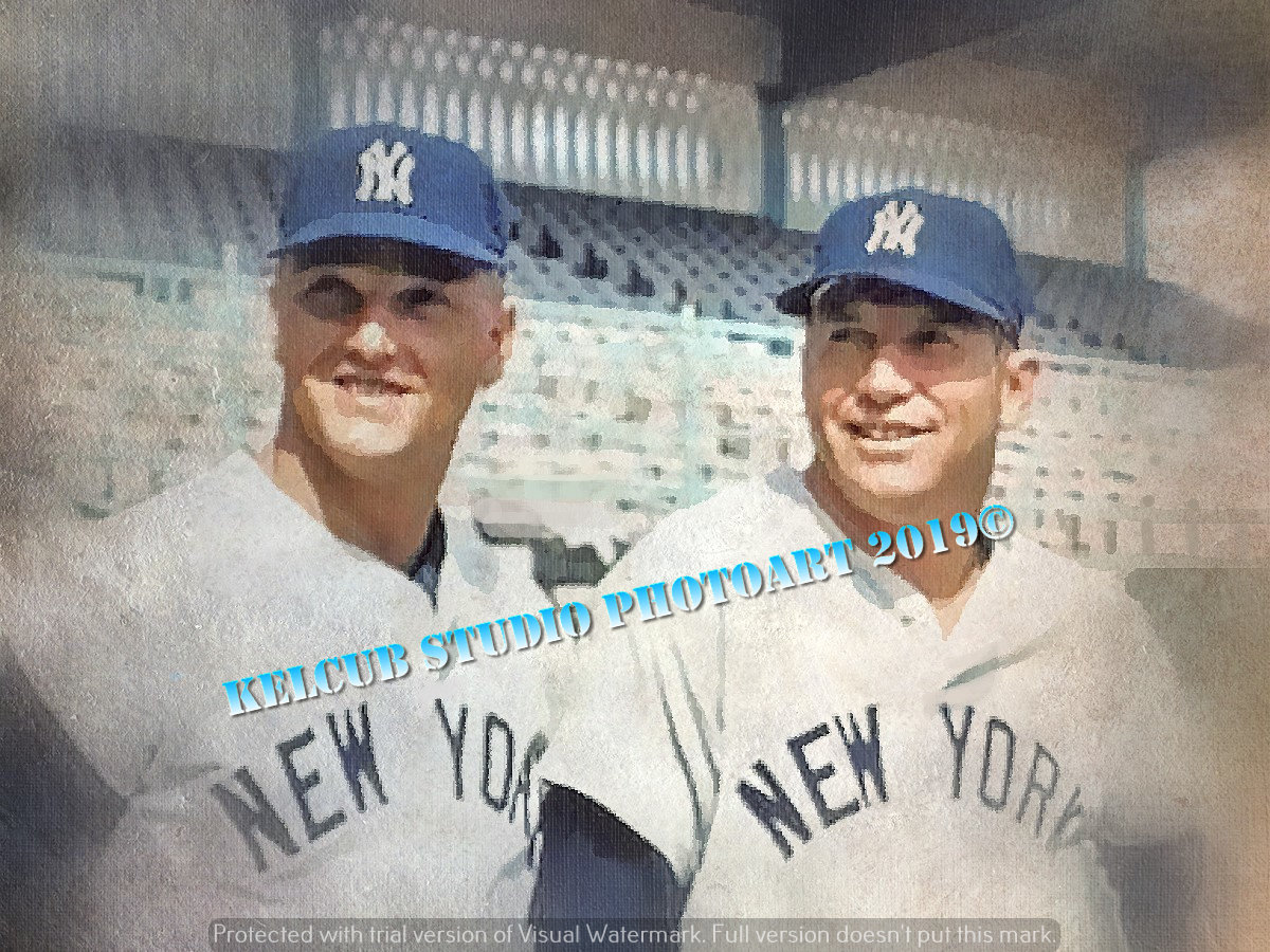 Ny New York Yankees Mantle Maris Oil Style Print Mickey Mantle