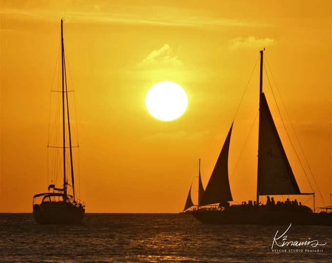 Featured listing image: St. Kenan Art: Aruba Sunset Artwork Print of Original Composition by Photographic Artist Kelcub 2014