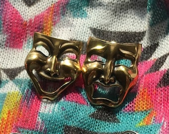 Comedy and Tragedy Masks Stud Earrings