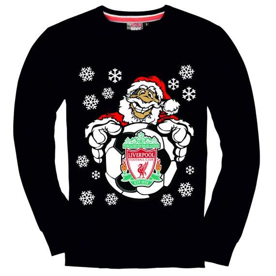 Weihnachten Sweatshirt Liverpool Weihnachtsmann Mit Fussball