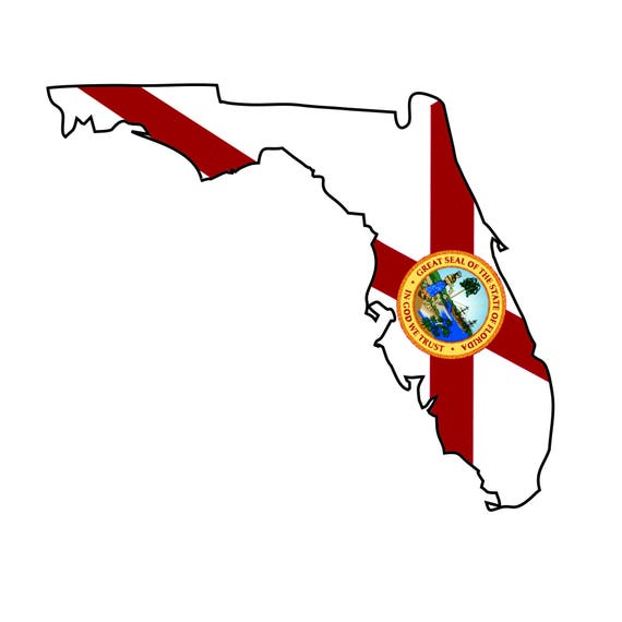 "Florida Sticker Vinyl 10 cm 4/"" Decal Stamp Florida United States US USA Moto"