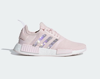 Crystal Adidas NMD R1 Bling Shoes with Swarovski Crystals Women s Running  Shoe Orchid Tint Light Pink 2947feff1