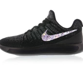 4a5424ff44e0f5 crystal Nike Lunarepic Low Flyknit 2 Bling Shoes with Swarovski Crystals Women s  Running Shoes Black