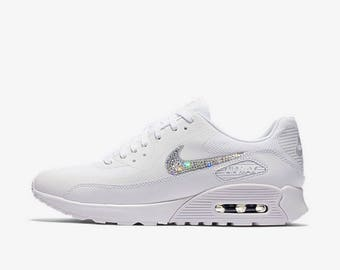 crystal Nike Air Max 90 Ultra 2.0 Bling Shoes with Swarovski Crystals  Women s Running Shoes White 060e2ed5030d