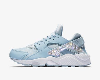 Crystal Bling Nike Air Huarache Shoes with Swarovski Crystals Women s  Running Shoes Light Armory Blue 5c5a107d2b