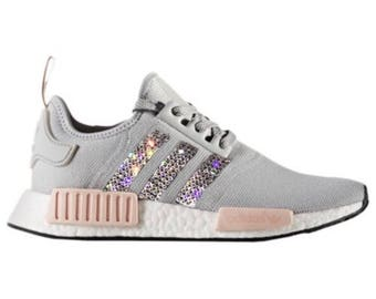 crystal Adidas NMD R1 Bling Shoes with Swarovski Crystals Women s Running  Shoes Light Onix Vapour Pink 425523b831b8
