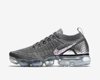 crystal Nike Air VaporMax Flyknit 2 Bling Shoes with Swarovski Elements  Women s Running Shoes dark gray gunsmoke e4908be23
