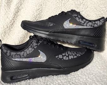 497ed3d3f864 crystal Nike Air Max Thea Print Bling Shoes with Swarovski Crystal Women s  Running Shoes Black Cheetah Print leopard