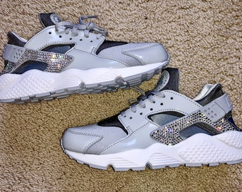 Crystal Bling Nike Air Huarache Shoes with Swarovski Crystals Women s  Running Shoes Wolf Gray 607d21d6c