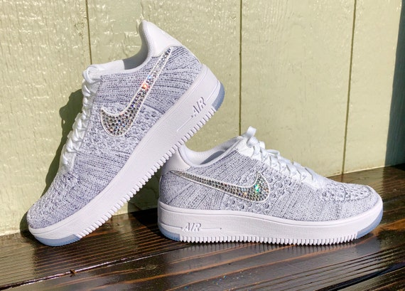 crystal Nike Air Force 1 Flyknit Low Bling Shoes with  f6b1f5d7d372