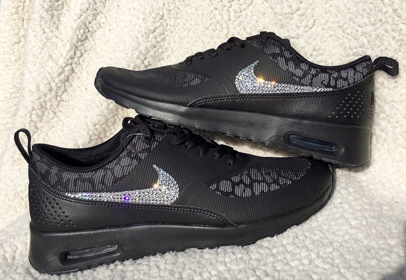 crystal Nike Air Max Thea Print Bling Shoes with Swarovski Crystal Women's Running Shoes Black Cheetah Print leopard