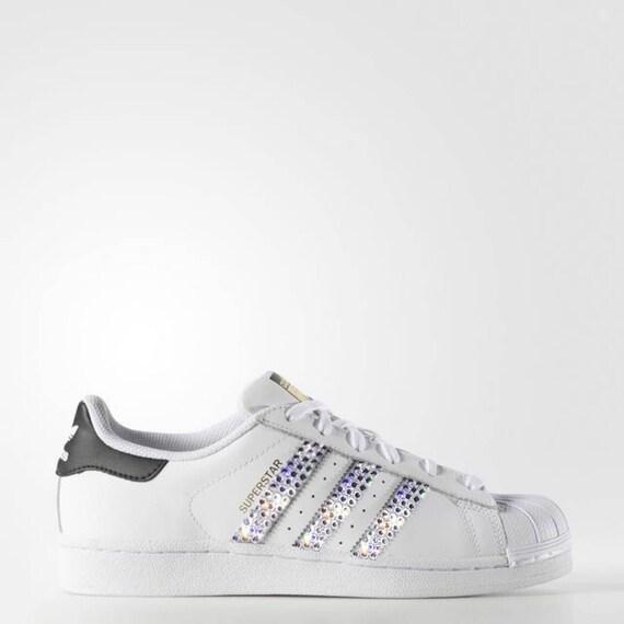 Di Scarpe Con Nero Adidas Superstar Della Cristallo Bianco Cristalli Donna Running Swarovski Bling ZPuXki