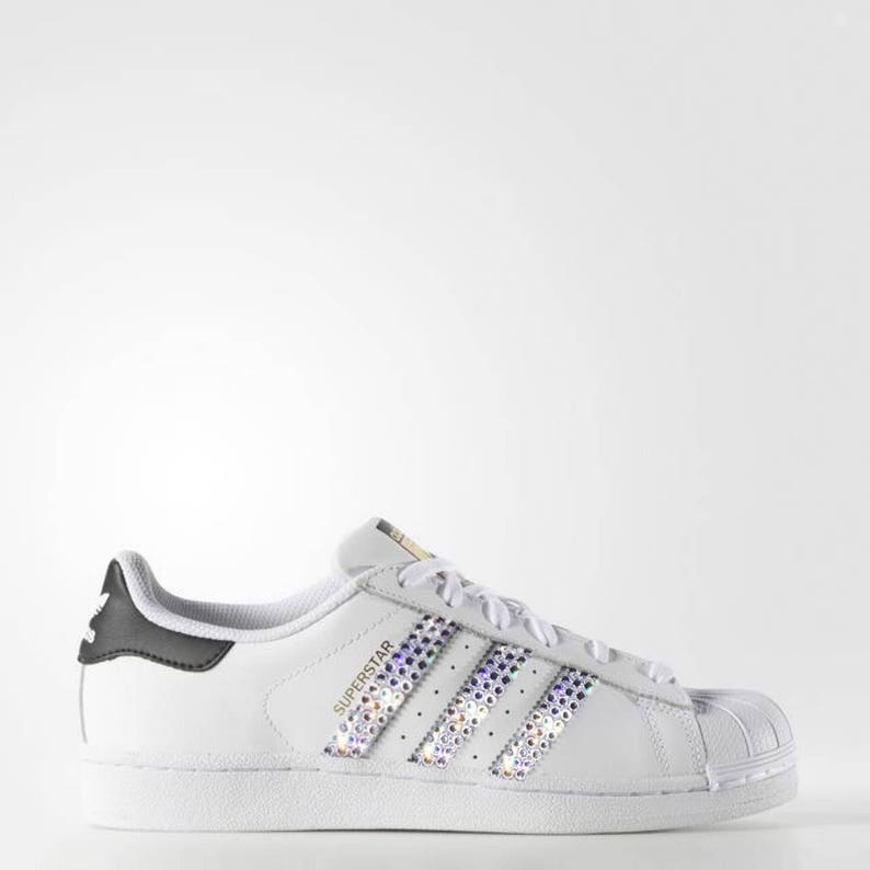 72da1eb464035 crystal Adidas Superstar Bling Shoes with Swarovski Crystals Women's  Running Shoes White Black