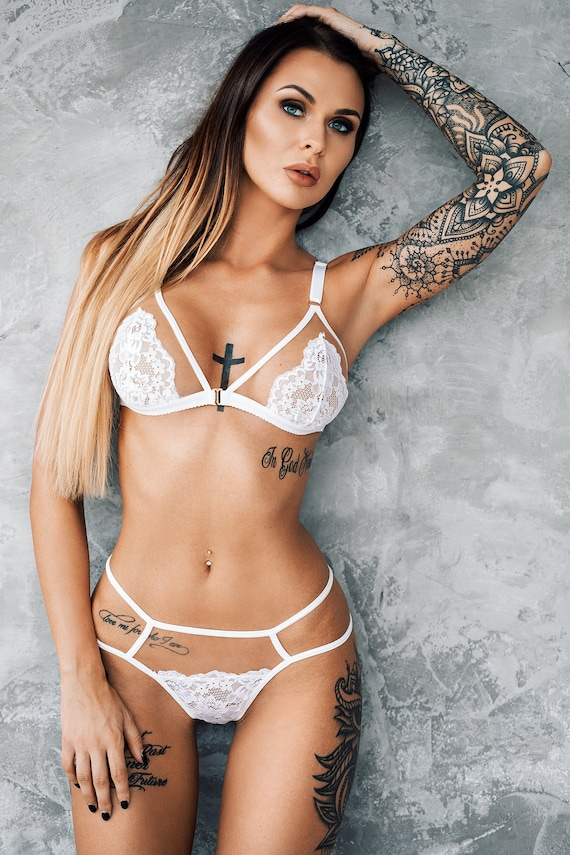 White lace lingerie bralette SHINE See through lingerie Lace  15f4293708