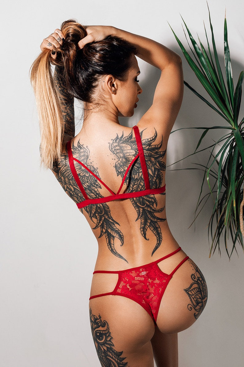 Red lingerie set SHINE with Sexy Thong panties See through  7256706855