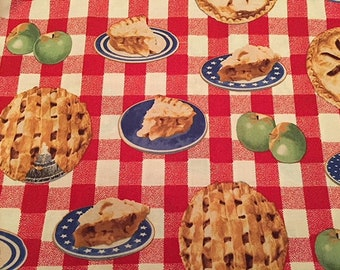 American as Apple Pie Summer Picnic Apples Picnic Tablecloth Patriotic Gingham Independence Day Fourth of July American Pie BTY
