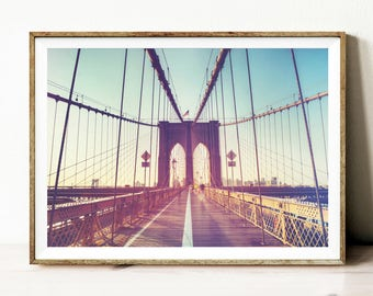 Brooklyn bridge print, instant download printable art, digital photography, New York photography, NYC wall art, landscape print, poster