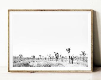 Black and white desert print, printable wall art, desert photography, California desert, South Western decor, modern desert printable poster
