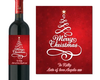 PERSONALISED WINE BOTTLE LABEL STICKER CHRISTMAS STOCKING FILLER RED WHITE ROSE