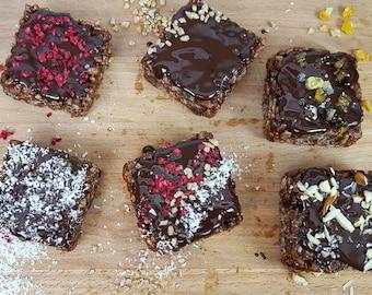 Vegan and gluten-free crispy rice & dark chocolate bars