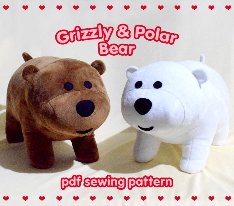 b78b41022a9 We Bare Bears - Grizzly and Polar Bear PDF Stuffed Toy Sewing Pattern - DIY  cute... We Bare Bears - Grizzly and Polar Bear PDF Stuffed Toy Sewing  Pattern ...