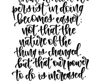 Digital Calligraphy Print   Power to Do Heber J Grant Quote   Instant Download