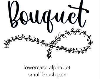 Modern calligraphy practice sheets   Bouquet font   lowercase   small brush pens