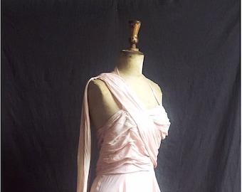 1950s Aphrodite dress in ballet slipper pink layered chiffon