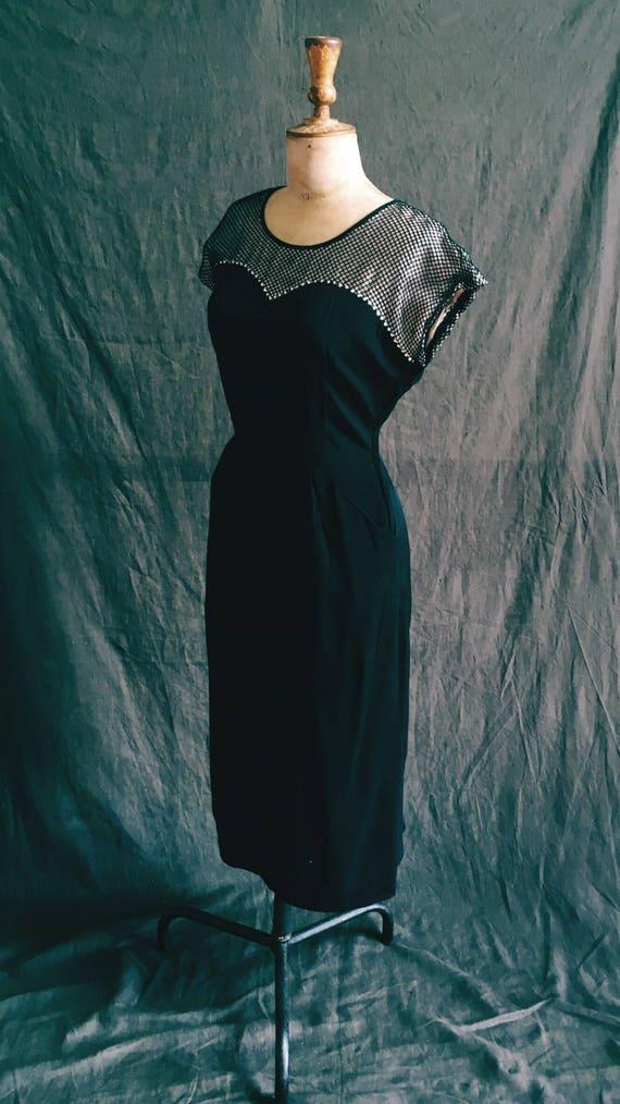 1960s fishnet and diamanté wiggle dress