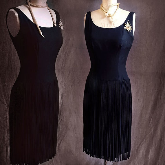 Black 1960s fringe dress