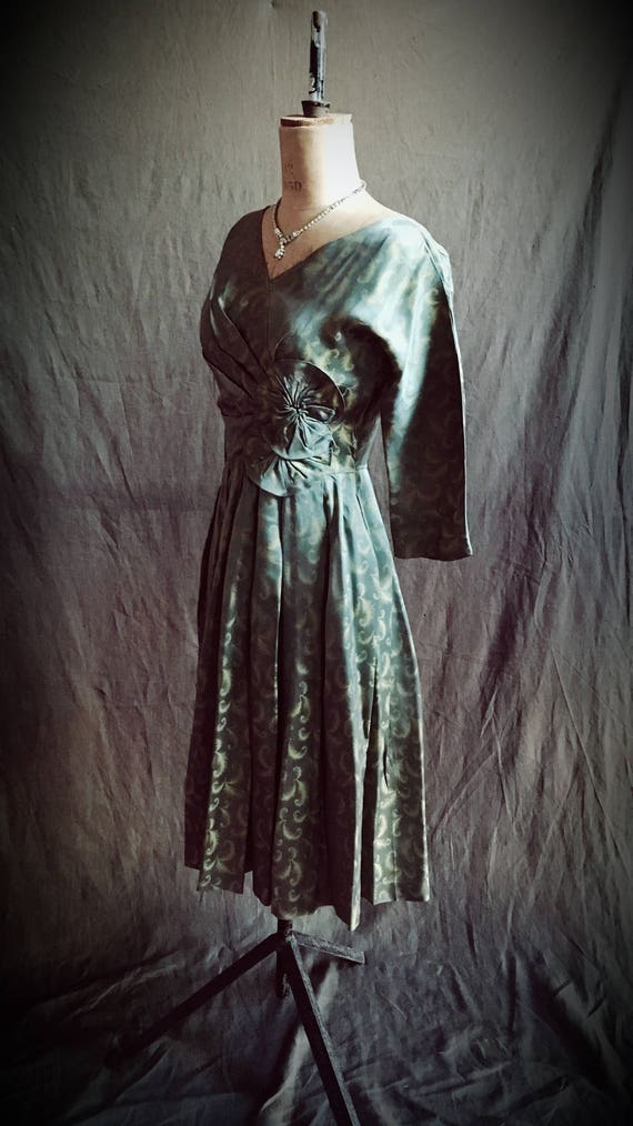 1940s jade and topaz silk dress