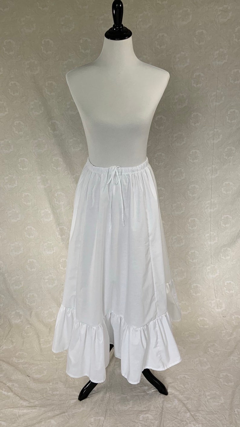 Victorian Lingerie History – Corset, Chemise, Petticoats Ruffled Skirt or Petticoat with Elastic Waist in Cotton Muslin or Broadcloth Solids $34.00 AT vintagedancer.com