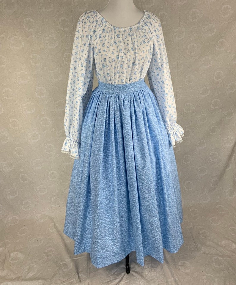 Victorian Skirts | Bustle, Walking, Edwardian Skirts ELIZABETH Full gathered skirt with waistband in Calico Prints MADE to MEASUREMENTS $58.00 AT vintagedancer.com