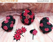 Gothic brooch bouquet, red and black bouquet, artificial bouquet, cake topper, button hole, corsarge, gothic bride, alternative wedding