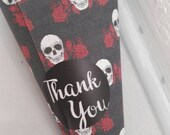 Confetti cones, favour cones, Gothic theme, skulls and roses, alternative wedding, Gothic wedding, wedding favours, favour bags, black