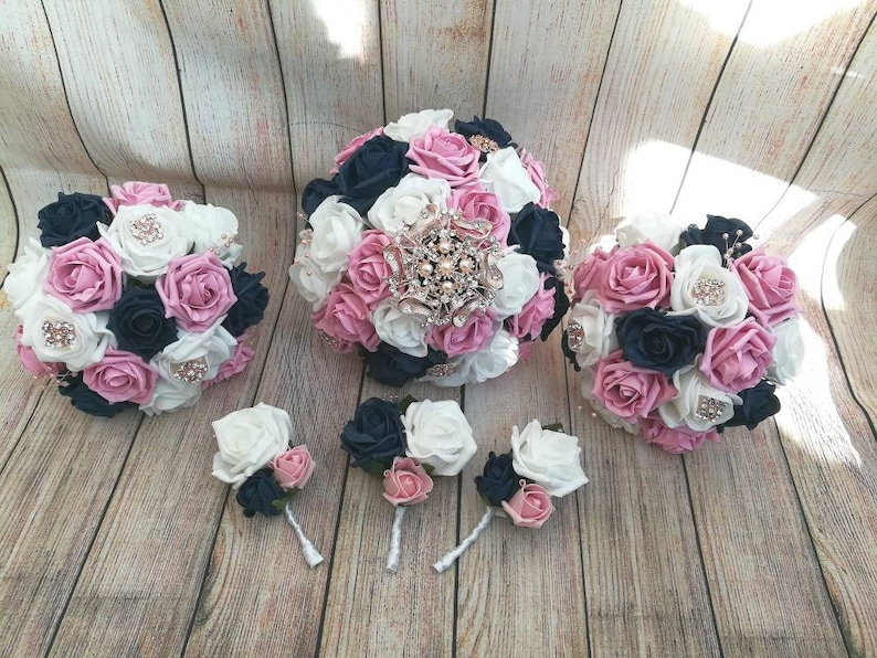 Rose Gold Navy Blue Pink And White Wedding Bouquet Package Etsy