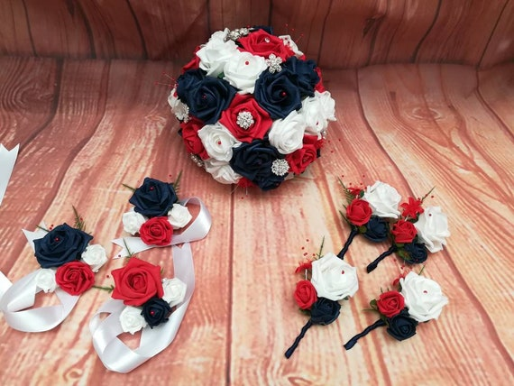 Red White And Blue Wedding Bouquet Package Artificial Etsy