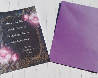 Personalised Save the date cards, pink sparkle flower, printed save the dates, alternative wedding, pink wedding,
