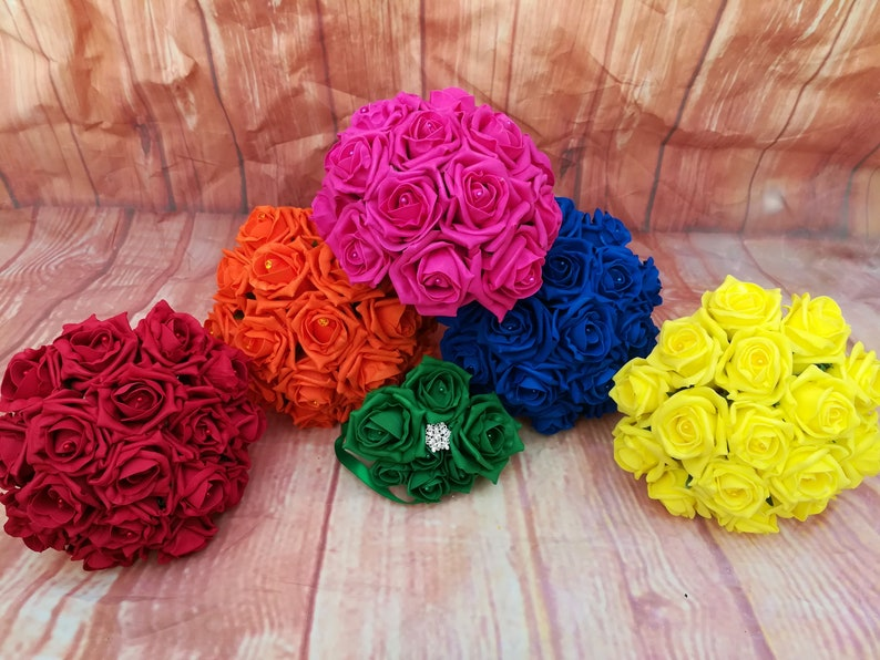 Rainbow wedding bouquet Artificial bouquet package Rainbow themed brooch bouquet