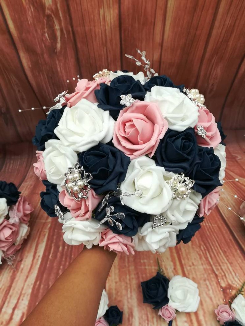 wedding flowers artificial bouquets Navy and pink wedding bouquet package navy white and pink wedding wedding bouquet