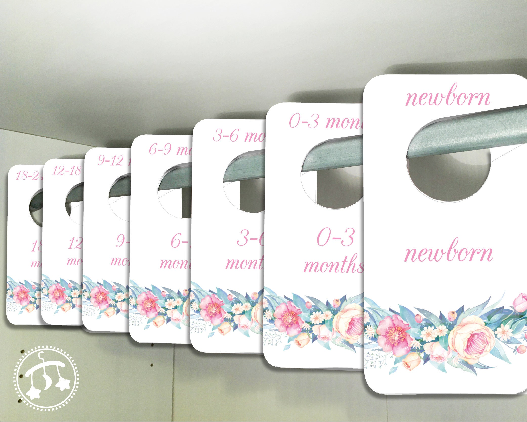 Printable Baby Closet Dividers Part - 20: Baby Closet Dividers - PRINTABLE dividers, DOWNLOADABLE clothing dividers,  pink baby dividers, closet dividers, pink floral baby dividers,