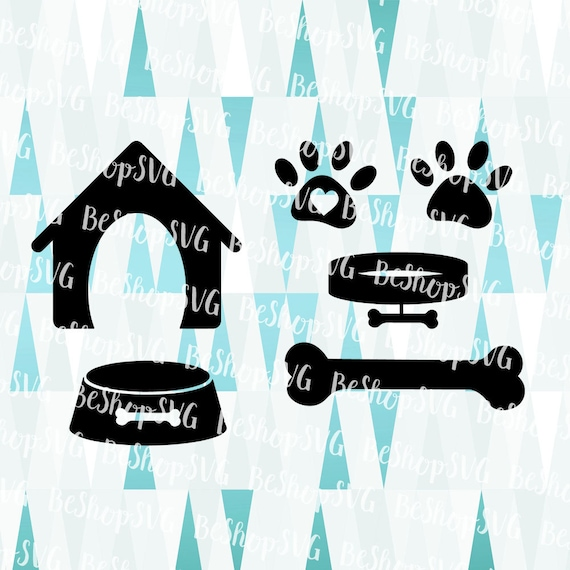 Dog Icons Bundle Svg Paw Svg Kennel Svg Silhouette Iron On Etsy