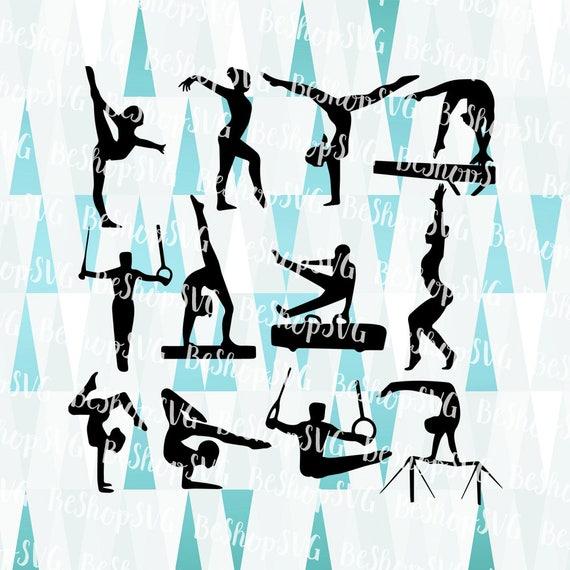 Gymnastes SVG, bundle gymnastes SVG, Svg gymnastique, Jeux olympiques SVG, silhouette gymnastes SvG, Instant Télécharger, Eps Dxf format Png Svg
