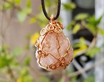 Hippie Necklace - Fire Agate Necklace - Stone Necklace - Unique Necklace - Chalcedony Necklace - Healing Stone - Boho Jewelry - Reiki