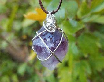 Amethyst Necklace-Hippie Necklace-February Birthstone-Crystal Necklace-Raw Amethyst Necklace-Unique Jewelry-Stone Necklace-Boho Necklace