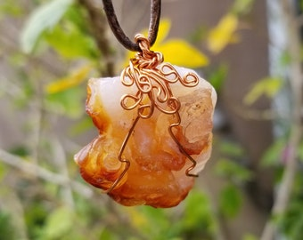 Fire Agate Necklace - Hippie Necklace - Unique Necklace - Healing Necklace - Chakra Necklace - Stone Jewelry - Healing Stone - Reiki